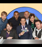 Would I Lie To You?. Image shows from L to R: Kian Egan, David Mitchell, Adil Ray, Rob Brydon, Bob Mortimer, Mel Giedroyc, Lee Mack. Copyright: Zeppotron.