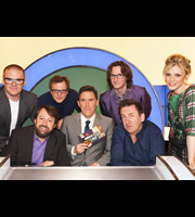 Would I Lie To You?. Image shows from L to R: Heston Blumenthal, David Mitchell, Miles Jupp, Rob Brydon, Ed Byrne, Lee Mack, Emilia Fox. Copyright: Zeppotron.