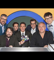 Would I Lie To You?. Image shows from L to R: Phill Jupitus, David Mitchell, Amanda Abbington, Rob Brydon, Richard Osman, Greg Davies, Gareth Malone. Copyright: Zeppotron.