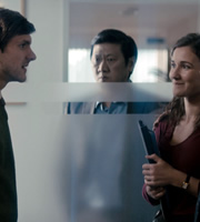 The Wrong Mans. Image shows from L to R: Sam (Mathew Baynton), Mr Lau (Benedict Wong), Lizzie (Sarah Solemani). Copyright: BBC / Hulu.