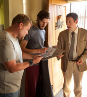 The Wrong Mans. Image shows from L to R: Phil (James Corden), Sam (Mathew Baynton), Kinsmann (John Ross Bowie). Image credit: British Broadcasting Corporation.