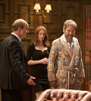 Yes, Prime Minister. Image shows from L to R: Jim Hacker (David Haig), Claire Sutton (Zoe Telford), Kumranistan Ambassador (Sam Dastor). Copyright: BBC.