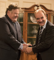 Yes, Prime Minister. Image shows from L to R: Rory McAlister (Robbie Coltrane), Jim Hacker (David Haig). Copyright: BBC.
