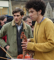 You, Me And The Apocalypse. Image shows from L to R: Jamie (Mathew Baynton), Dave (Joel Fry). Copyright: Working Title Films / Bigballs Films.