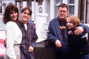 2point4 Children. Image shows from L to R: Bill (Belinda Lang), David (John Pickard), Ben (Gary Olsen), Jenny (Clare Buckfield). Copyright: BBC.