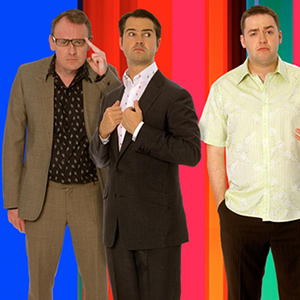 8 Out Of 10 Cats. Image shows from L to R: Sean Lock, Jimmy Carr, Jason Manford. Copyright: Zeppotron.