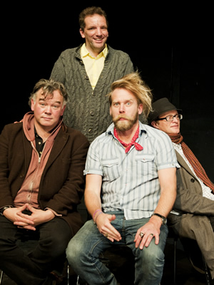 The Alternative Comedy Experience. Image shows from L to R: Stewart Lee, Henning Wehn, Tony Law, Simon Munnery. Copyright: Comedy Central.