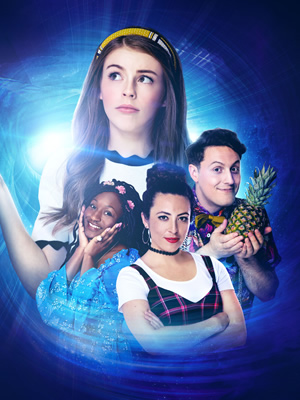 The Amelia Gething Complex. Image shows from L to R: Vinny (Jasmin Hinds), Amelia (Amelia Gething), Poppy (Natalia Hinds), Wallace (Alex Griffin-Griffiths). Copyright: BBC.