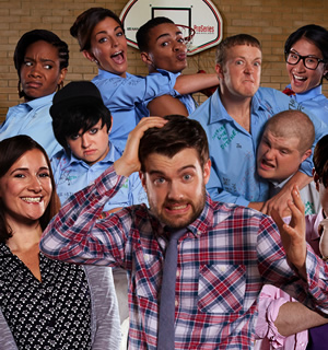 Bad Education. Image shows from L to R: Miss Gulliver (Sarah Solemani), Cleopatra (Weruche Opia), Rem Dogg (Jack Binstead), Chantelle (Nikki Runeckles), Stephen (Layton Williams), Alfie (Jack Whitehall), Grayson (Jack Bence), Joe (Ethan Lawrence), Jing (Kae Alexander). Copyright: Tiger Aspect Productions.