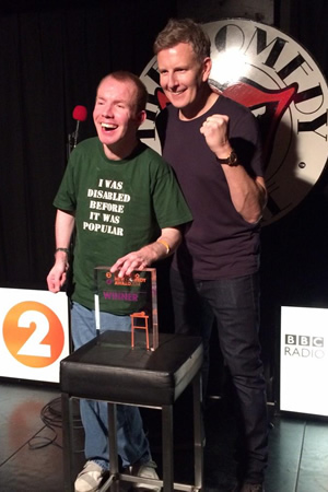 BBC New Comedy Award. Image shows from L to R: Lee Ridley, Patrick Kielty. Copyright: BBC.