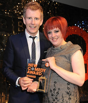 BBC Radio New Comedy Award. Image shows from L to R: Patrick Kielty, Angela Barnes. Image credit: British Broadcasting Corporation.