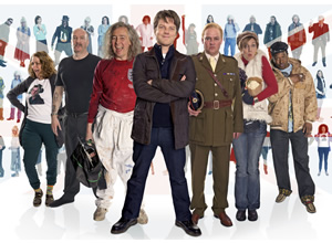 Bellamy's People. Image shows from L to R: Rosie Cavaliero, Simon Day, Paul Whitehouse, Gary Bellamy (Rhys Thomas), Charlie Higson, Lucy Montgomery, Felix Dexter. Image credit: British Broadcasting Corporation.