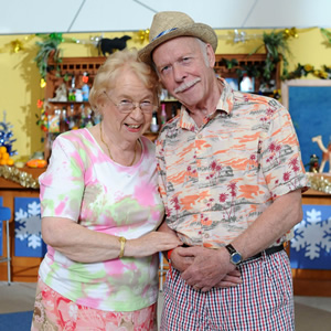 Benidorm. Image shows from L to R: Noreen Maltby (Elsie Kelly), Clive (Brian Murphy). Copyright: Tiger Aspect Productions.