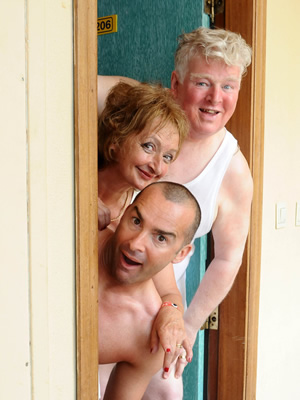 Benidorm. Image shows from L to R: Jacqueline Stewart (Janine Duvitski), Marvin (Louie Spence), Donald Stewart (Kenny Ireland). Copyright: Tiger Aspect Productions.