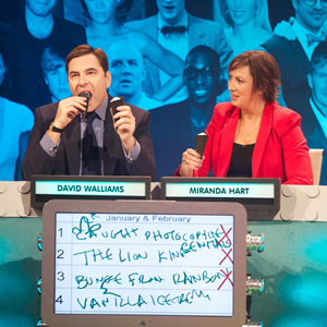 The Big Fat Quiz Of The Year. Image shows from L to R: David Walliams, Miranda Hart. Image credit: Hot Sauce.