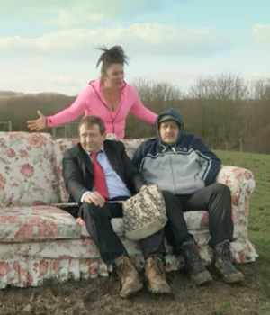 Jeremy Kyle Show on Big Field. Image shows from L to R: Alex Lowe, Shelley Longworth, Tony Way.