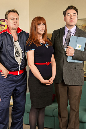 Big School. Image shows from L to R: Mr Gunn (Philip Glenister), Miss Postern (Catherine Tate), Mr Church (David Walliams). Copyright: BBC / King Bert Productions.