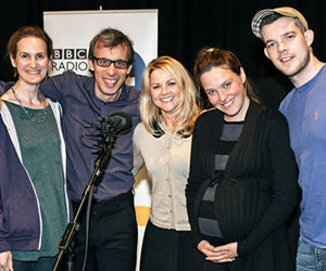 Births, Deaths And Marriages. Image shows from L to R: Anita (Sandy McDade), Malcolm Fox (David Schneider), Lorna (Sarah Hadland), Mary (Sally Bretton), Luke (Russell Tovey). Copyright: Unique Productions.
