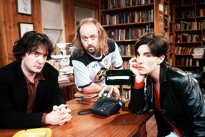 Black Books. Image shows from L to R: Bernard Black (Dylan Moran), Manny Bianco (Bill Bailey), Fran Katzenjammer (Tamsin Greig). Copyright: Assembly Film And Television.