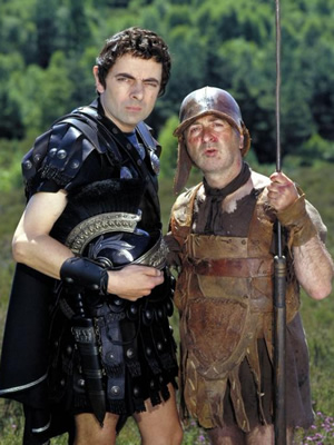 Blackadder. Image shows from L to R: Lord Edmund Blackadder V (Rowan Atkinson), Baldrick (Tony Robinson). Image credit: British Broadcasting Corporation.