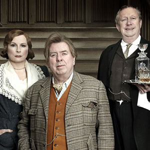 Blandings. Image shows from L to R: Connie (Jennifer Saunders), Clarence (Timothy Spall), Beach (Mark Williams). Image credit: Mammoth Screen.