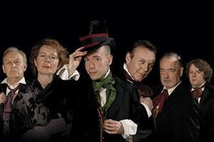 Bleak Expectations. Image shows from L to R: Hardthrasher (Geoffrey Whitehead), Aunt Lily (Celia Imrie), Young Pip (Tom Allen), Mr Gently Benevolent (Anthony Head), Sir Philip Bin (Richard Johnson), Harry Biscuit (James Bachman). Image credit: British Broadcasting Corporation.