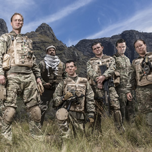 Bluestone 42. Image shows from L to R: Nick (Oliver Chris), Faruq (Keeno Lee Hector), Rocket (Scott Hoatson), Mac (Jamie Quinn), Lt Col Smith (Tony Gardner), Bird (Katie Lyons). Copyright: BBC.