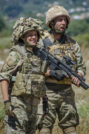 Bluestone 42. Image shows from L to R: Ellen (Laura Aikman), Towerblock (Matthew Lewis). Copyright: BBC.