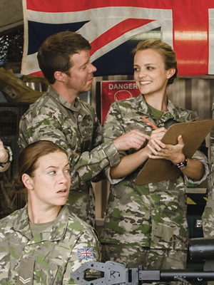 Bluestone 42. Image shows from L to R: Bird (Katie Lyons), Simon (Stephen Wight), Ellen (Laura Aikman). Copyright: BBC.