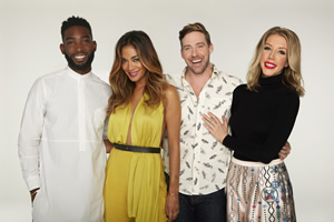 Bring The Noise. Image shows from L to R: Tinie, Nicole Scherzinger, Ricky Wilson, Katherine Ryan. Copyright: Twenty Six 03.