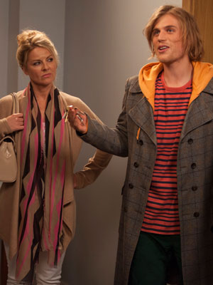 Brotherhood. Image shows from L to R: Auntie Debbie (Sarah Hadland), Toby (Johnny Flynn). Copyright: Big Talk Productions.