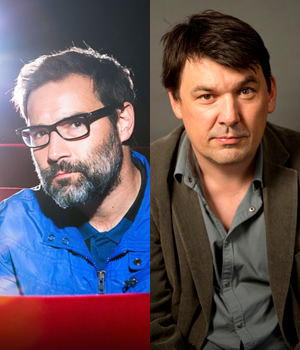 Image shows from L to R: Adam Buxton, Graham Linehan.