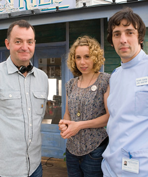 The Café. Image shows from L to R: Craig Cash, Sarah Porter (Michelle Terry), Richard Dickens (Ralf Little). Copyright: Jellylegs.