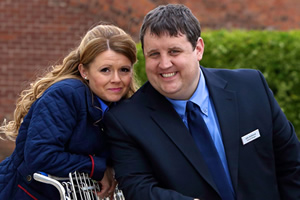 Car Share. Image shows from L to R: Kayleigh Kitson (Sian Gibson), John Redmond (Peter Kay). Copyright: Goodnight Vienna Productions.