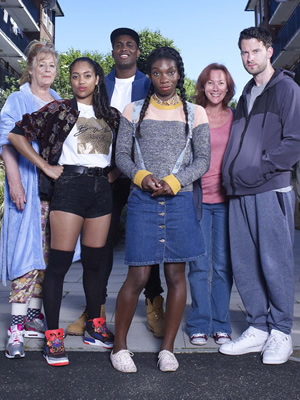 Chewing Gum. Image shows from L to R: Esther (Maggie Steed), Candice (Danielle Isaie), Aaron (Kadiff Kirwan), Tracey Gordon (Michaela Coel), Mandy (Tanya Franks), Connor Jones (Robert Lonsdale). Copyright: Retort.