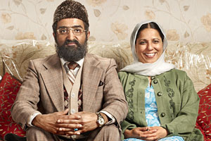 Citizen Khan. Image shows from L to R: Mr Khan (Adil Ray), Mrs Khan (Shobu Kapoor). Copyright: BBC.