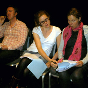 Clare In The Community rehearsal. Image shows from L to R: Ray (Richard Lumsden), Libby (Sarah Kendall), Clare (Sally Phillips). Copyright: BBC.
