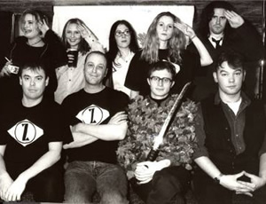 Cluub Zarathustra. Image shows from L to R: Unknown, Kevin Eldon, Unknown, Roger Mann, Lori Lixenberg, Sally Phillips, Simon Munnery, Richard Thomas, Stewart Lee.