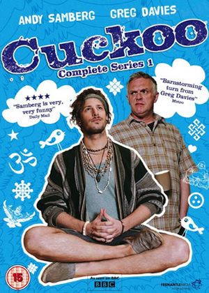 Cuckoo. Image shows from L to R: Cuckoo (Andy Samberg), Ken (Greg Davies). Copyright: Roughcut Television.