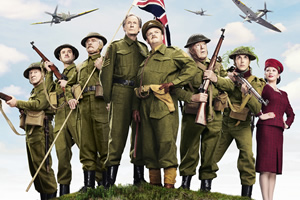 Dad's Army. Image shows from L to R: Private Frazer (Bill Paterson), Private Joe Walker (Daniel Mays), Corporal Jack Jones (Tom Courtenay), Sergeant Arthur Wilson (Bill Nighy), Captain George Mainwaring (Toby Jones), Private Godfrey (Michael Gambon), Private Frank Pike (Blake Harrison), Rose Winters (Catherine Zeta-Jones). Copyright: Universal Pictures / DJ Films.