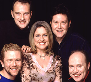 Dead Ringers. Image shows from L to R: Jon Culshaw, Phil Cornwell, Jan Ravens, Mark Perry, Kevin Connelly. Image credit: British Broadcasting Corporation.