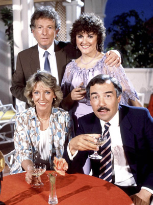 Duty Free. Image shows from L to R: David Pearce (Keith Barron), Linda Cochran (Joanna Van Gyseghem), Amy Pearce (Gwen Taylor), Robert Cochran (Neil Stacy). Copyright: Yorkshire Television.