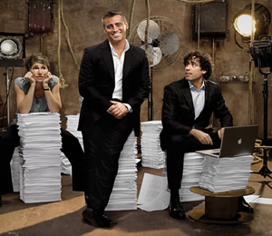 Episodes. Image shows from L to R: Beverly Lincoln (Tamsin Greig), Matt (Matt LeBlanc), Sean Lincoln (Stephen Mangan). Image credit: Hat Trick Productions.
