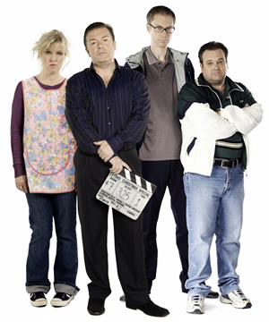 Extras. Image shows from L to R: Maggie Jacobs (Ashley Jensen), Andy Milman (Ricky Gervais), Darren Lamb (Stephen Merchant), Barry off EastEnders (Shaun Williamson).