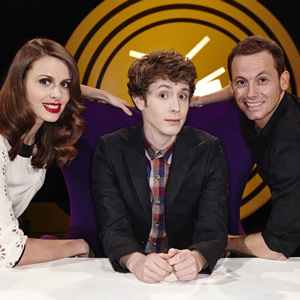 Fake Reaction. Image shows from L to R: Ellie Taylor, Matt Edmondson, Joe Swash. Image credit: STV Productions.