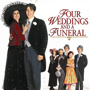 Four Weddings And A Funeral. Image shows from L to R: Carrie (Andie MacDowell), Charles (Hugh Grant), Fiona (Kristin Scott Thomas), Gareth (Simon Callow), Tom (James Fleet), Scarlet (Charlotte Coleman), Matthew (John Hannah). Image credit: Working Title Films.