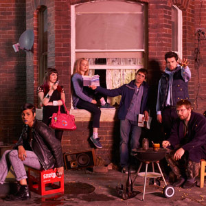 Fresh Meat. Image shows from L to R: Vod (Zawe Ashton), Oregon (Charlotte Ritchie), Josie (Kimberley Nixon), Kingsley (Joe Thomas), JP (Jack Whitehall), Howard (Greg McHugh). Image credit: Objective Productions.