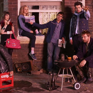 Fresh Meat. Image shows from L to R: Oregon (Charlotte Ritchie), Josie (Kimberley Nixon), Kingsley (Joe Thomas), JP (Jack Whitehall), Howard (Greg McHugh). Copyright: Objective Productions / Lime Pictures.