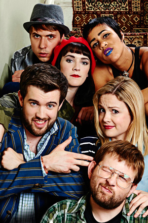 Fresh Meat. Image shows from L to R: JP (Jack Whitehall), Kingsley (Joe Thomas), Oregon (Charlotte Ritchie), Vod (Zawe Ashton), Howard (Greg McHugh), Josie (Kimberley Nixon). Copyright: Objective Productions / Lime Pictures.