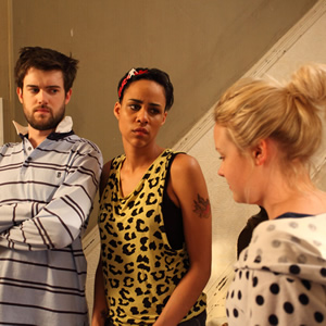 Fresh Meat. Image shows from L to R: JP (Jack Whitehall), Vod (Zawe Ashton), Josie (Kimberley Nixon). Image credit: Objective Productions.